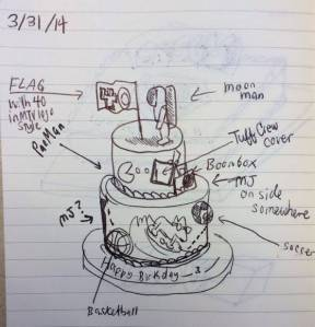 80s cake sketch