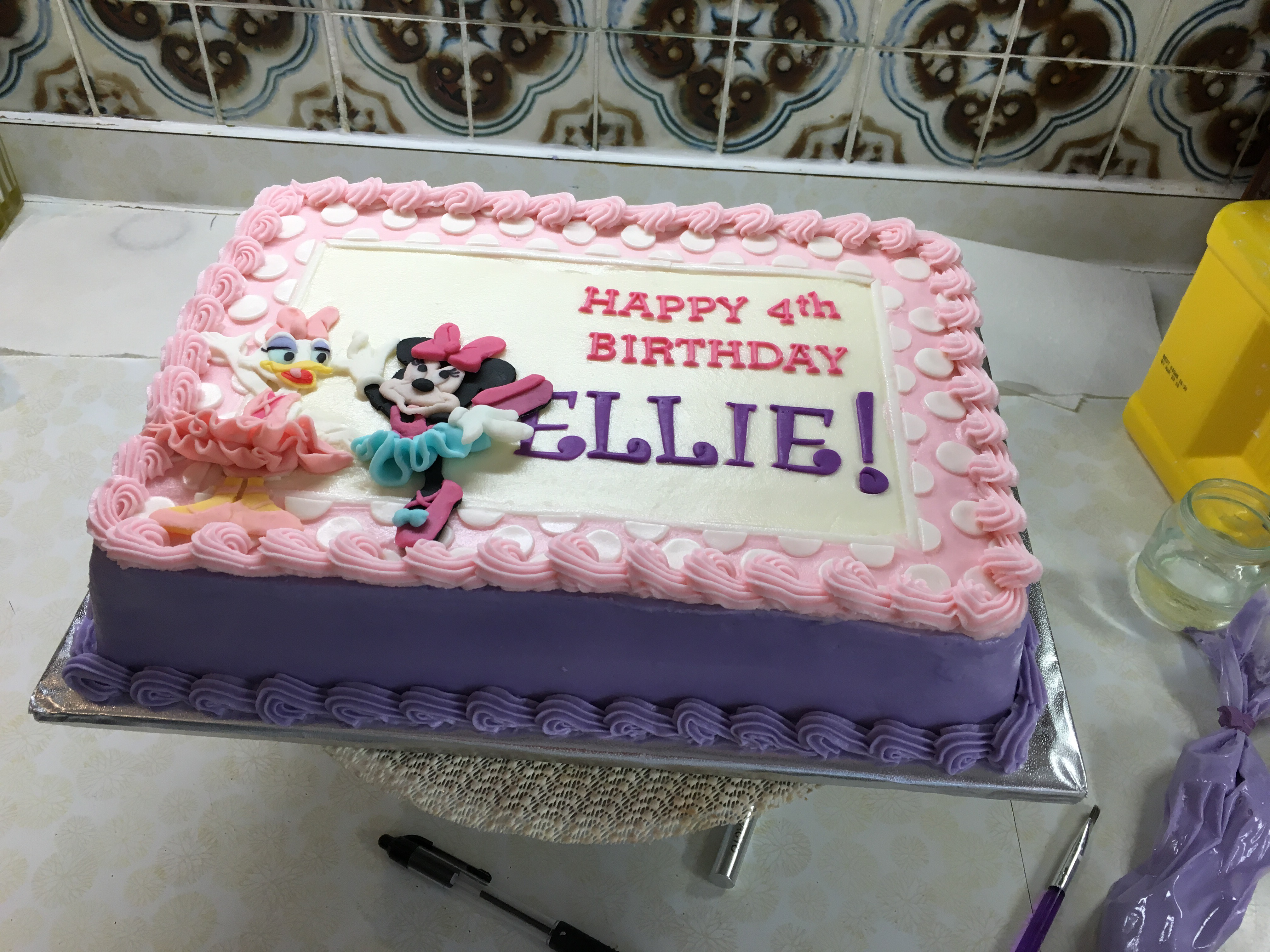 Awe Inspiring Minnie Daisy Sheet Cake Nicholes Custom Cakes Funny Birthday Cards Online Amentibdeldamsfinfo