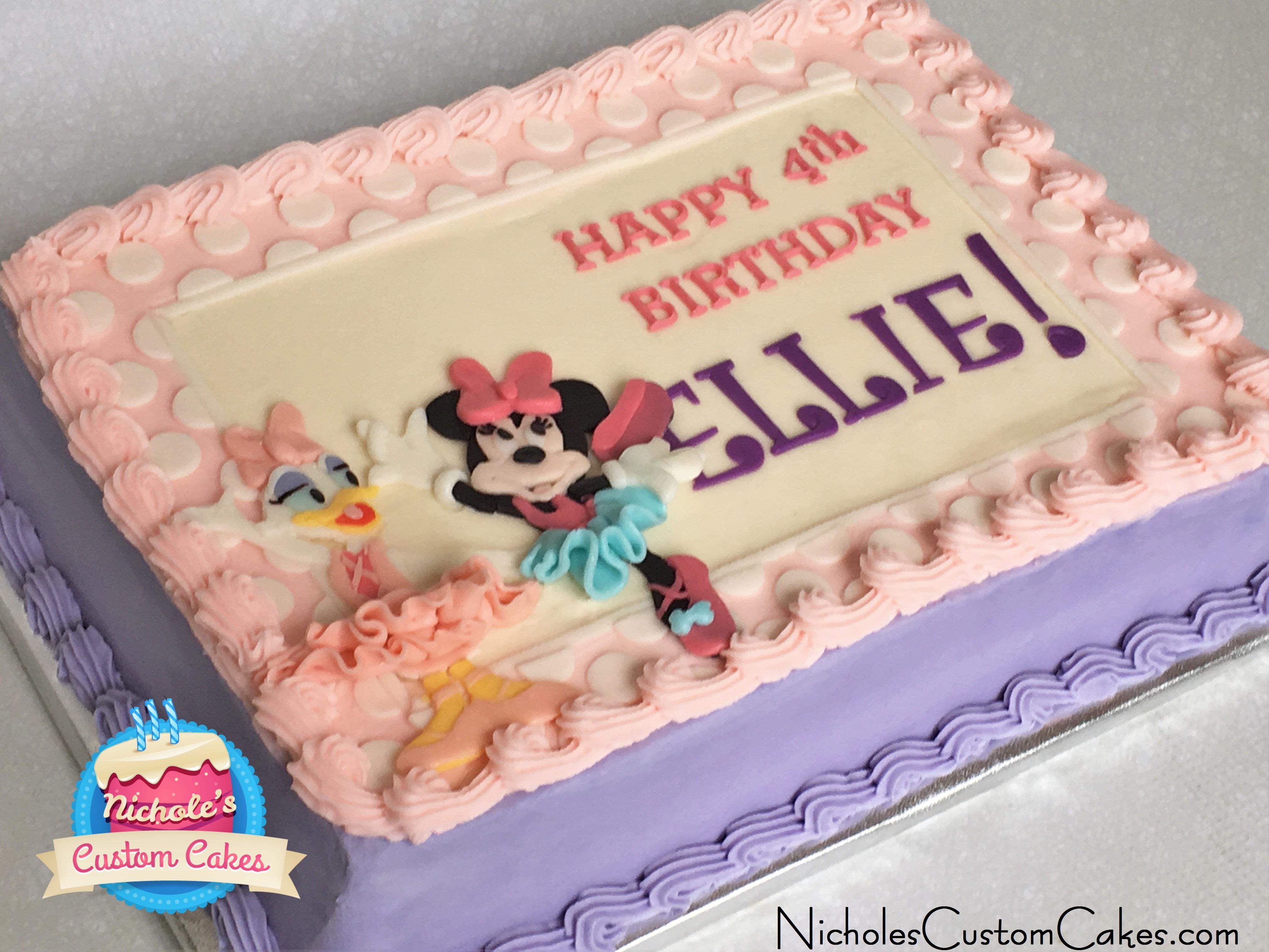 Peachy Minnie Daisy Sheet Cake Nicholes Custom Cakes Personalised Birthday Cards Vishlily Jamesorg