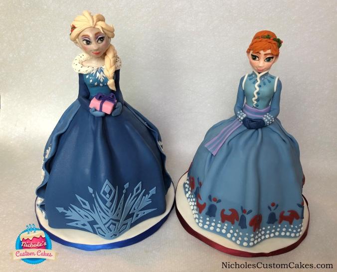 anna and elsa cakes